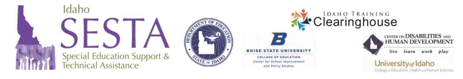 Idaho SESTA, ISDE, BSU, ITC, CDHD, and U of I Logos